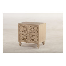 29-inch T Night Stand Artisan Hand Carved Front Panel Drawers Sustainable Mango Wood