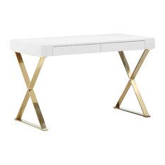 Mason Gold X-Leg Desk, White