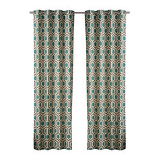 Hexagon Curtains, Teal and Walnut, Set of 2