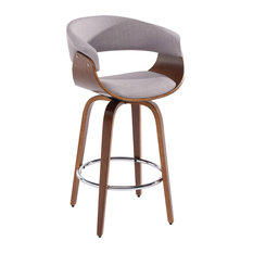 "Bentwood and Fabric 26"" Counter Stool, Gray"