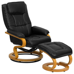 """Leather Recliner and Ottoman With Swivel Maple Wood Base, 41"""", Black"""