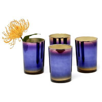 Serene Spaces Living Colorful Oxidized Glass Vase, Set of 4