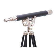 "Floor Standing Anchormaster Telescope, Chrome/Leather, 65"""