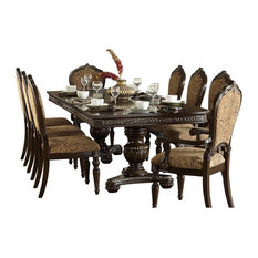 HEFX Furniture   9 Piece Ragosta European Dining Set Pedestal Table, 2 Arm,