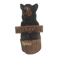 Bells Bears 20 Sign Holding Stump Black Bear Welcome Garden