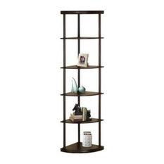 Bowery Hill 5 Shelf Corner Bookcase In Cappuccino