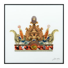 """Crown w/Curved Spires"" Reverse Printed Art Framed With Black Anodized Aluminum"