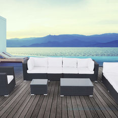 Velago Furniture Outlet - Maxima 7-Piece Outdoor Wicker Conversation Set, Black - Outdoor Chaise Lounges