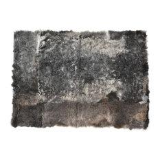 "Sheepskin Fur Rug Rectangle Wool Mat Gray Brown 2'6""x3'5"""