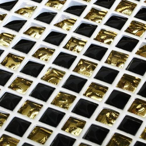 Black And Gold Kitchen: Black Gold Glass Wave Tiles Backsplash Mosaic Decor