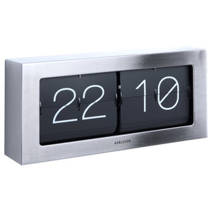 Karlsson Boxed Flip Clock, Large, Steel, Large