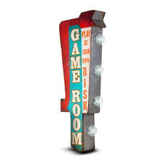 Game Room Play At Your Own Risk Vintage LED Sign