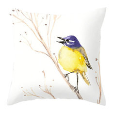 """Decorative Pillow Cover, Wagtail Bird Floral, 14""""x20"""" With Insert"""