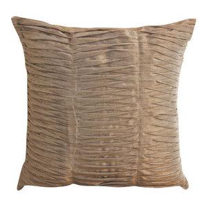 Brown Art Silk 40x40 Textured Pintucks Cushions Cover, Champagne Brown Waves