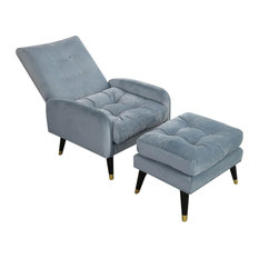 Velvet Upholstered Lounge ChairOttoman Botton Tufted Chair With Adjustable Back