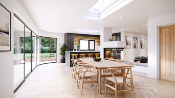 Interior view of dining and kitchen space, Feature fire, Curved glazing
