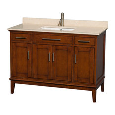 "Hatton 48"" Light Chestnut Single Vanity With Ivory Marble Top and Square Sink"