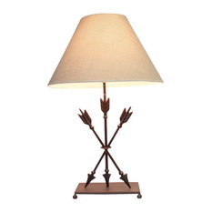 Cast Iron Old West Style Triple Arrows Table Lamp 26 Inches High