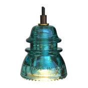 Insulator Light Pendant, Original, Blue and Green Beaded, Led Bulb
