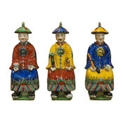 3-Piece Porcelain Chinese Qing Dynasty Emperors Figurine Set