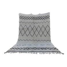 Genuine Moroccan Rug, Black Design, 7'x7'