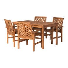 5-Piece Chevron Outdoor Patio Dining Set, Brown