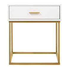 Catalina White Color One Drawer with Gold Legs