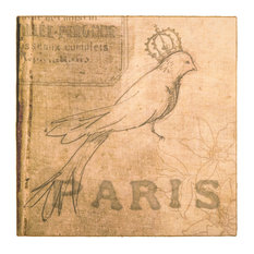 "Paris Bird Print, 29"" X 29"""
