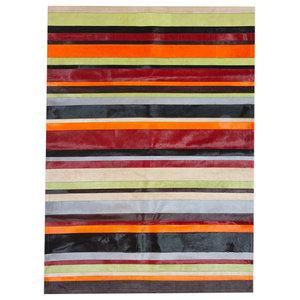 Patchwork Leather Cowhide Rug, Multi Colour Stripes, 140x200 Cm