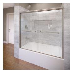 "Infinity Semi-Frameless Sliding Bathtub Door, 54.5-58.5"", Clear, Brushed Nickel"
