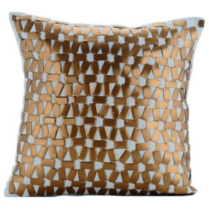 Goldilocks Metallic Sequin Cushion Cover, Blue and Gold, 30x30