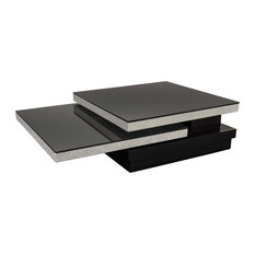 Black Glass And Chrome Coffee TableCoffeTable