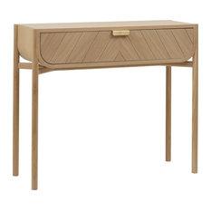 HARTO Marius Console Table, Natural Oak Drawer
