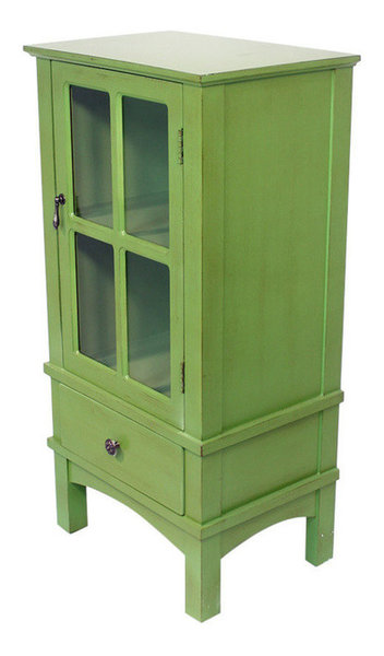 Vivian 1 Door 1 Drawer Accent Cabinet With Paned Glass Inserts