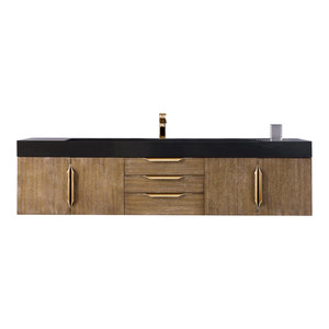 "Mercer Island 72"" Single Vanity Latte Oak Radiant Gold w White Solid Surface Top"