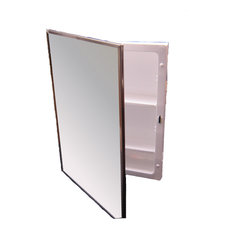 "Bright Annealed Stainless Steel Framed Mirror Medicine Cabinet 16""x22"""