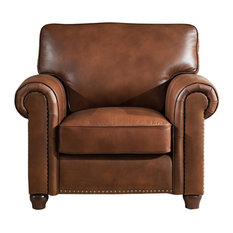 1st Avenue - Pembroke Leather Armchair, Brown - Armchairs and Accent Chairs