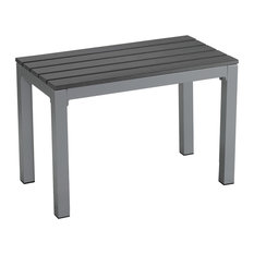 Jaxon Aluminum Outdoor Bench, Poly Wood, Silver/Slate Gray