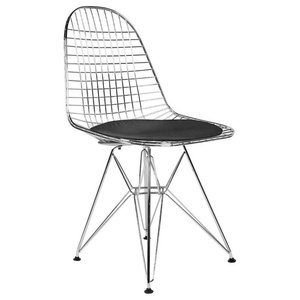 Black Modern Wire Chairs, Set of 4