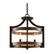 "Kira Home Woodrow 15"" Farmhouse Semi Flush Convertible Pendant Light, Dark Wood"