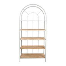 Metal Framed Bookshelf With 5 Wood Shelves, Gray