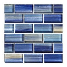 "12""x12"" Glass Tile Blends Watercolors Series, Blue"