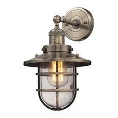 Seaport 1-Light Sconce, Antique Brass