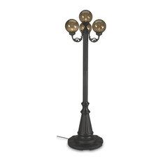 European 4 Bronze Globe Lantern Patio Lamp, Park Style, Black/Bronze Glass