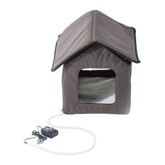 PawHut Small Indoor Outdoor Portable Water Resistant Heated Cat House - Brown