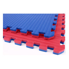 "24""x24"" Tatami Martial Arts Flooring Foam Tiles, Set of 10, Red/Blue"