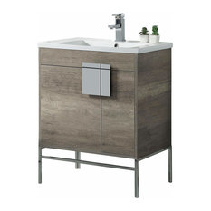 Bathroom Vanity Set, Vireous China Sink Top, Gray, Chrome Hardware