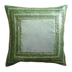 "Green Couch Pillows Art Silk 20""x20"" Sequins Embellished, Green Envy"