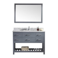 "Caroline Estate 48"" Single Vanity Gray, Marble Top, Square Sink, Mirror"