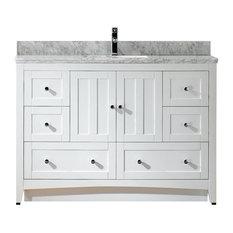 """Modern Plywood-Veneer Vanity Base Set Only, White, 47.5""""X18"""""""
